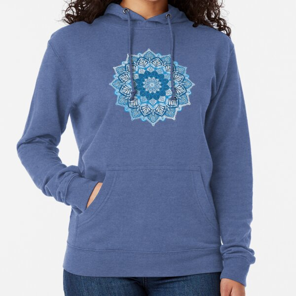 Boho Mandala in Monochrome Blue and White Lightweight Hoodie