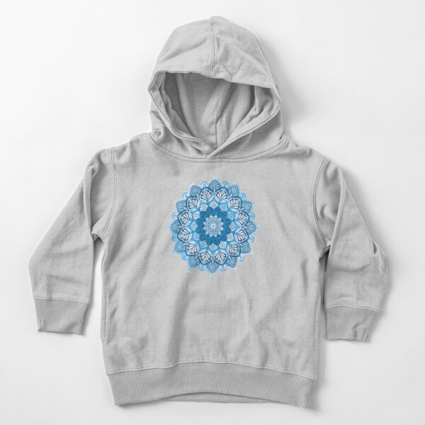 Boho Mandala in Monochrome Blue and White Toddler Pullover Hoodie