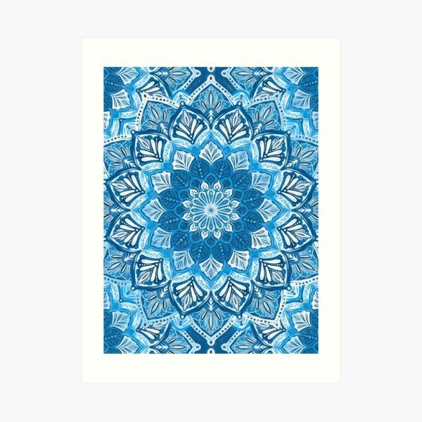 Boho Mandala in Monochrome Blue and White Art Print