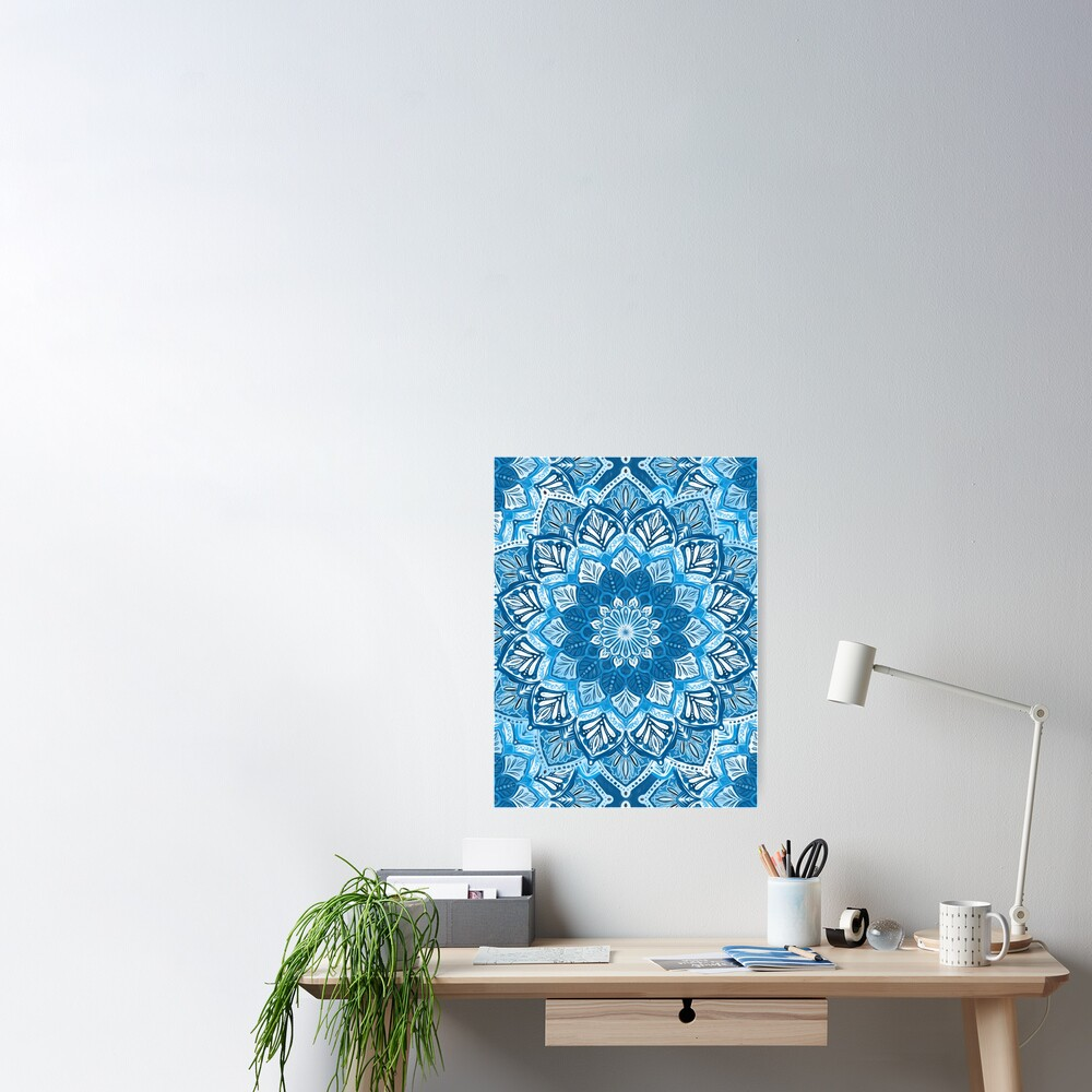 Boho Mandala in Monochrome Blue and White Poster