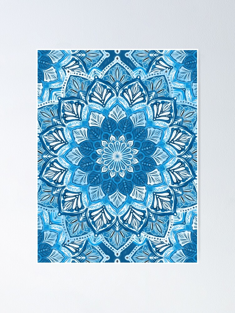 Alternate view of Boho Mandala in Monochrome Blue and White Poster