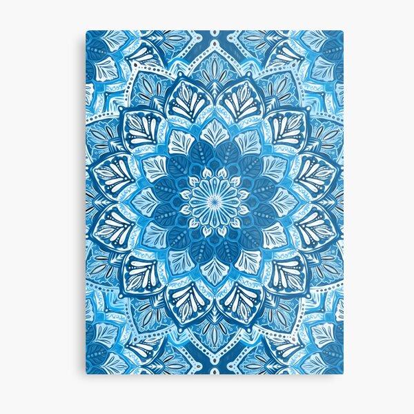 Boho Mandala in Monochrome Blue and White Metal Print