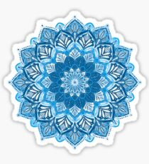 Boho Mandala in Monochrome Blue and White Sticker