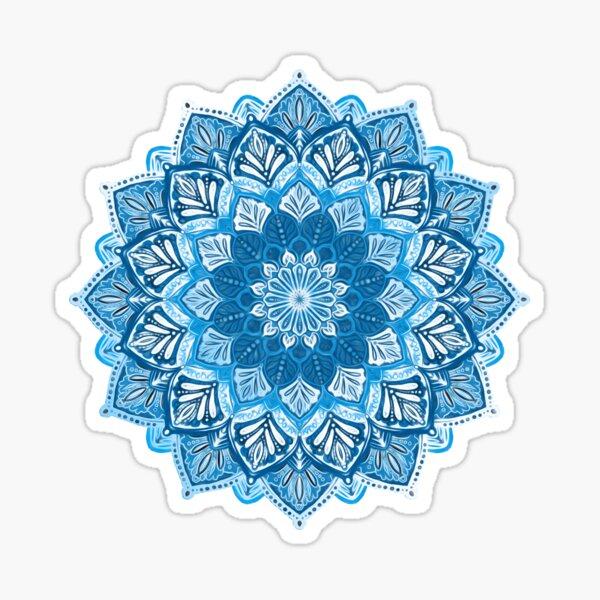 Boho Mandala in Monochrome Blue and White Sticker