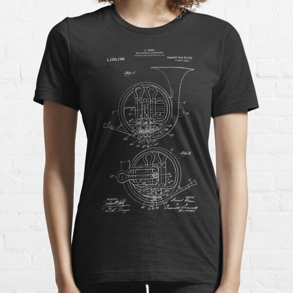 French Horn Patent Band Musical Instrument Invention Reprint Essential T-Shirt