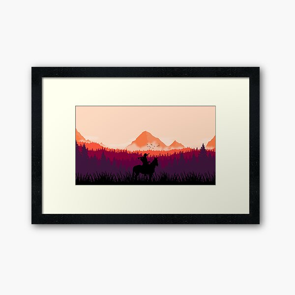 Far west sunset Framed Art Print
