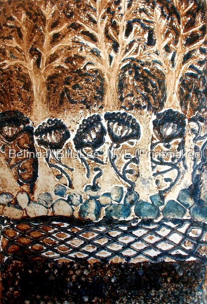 "In My Blue Garden - Collagraph Print by Belinda ""BillyLee"" NYE (Printmaker)"