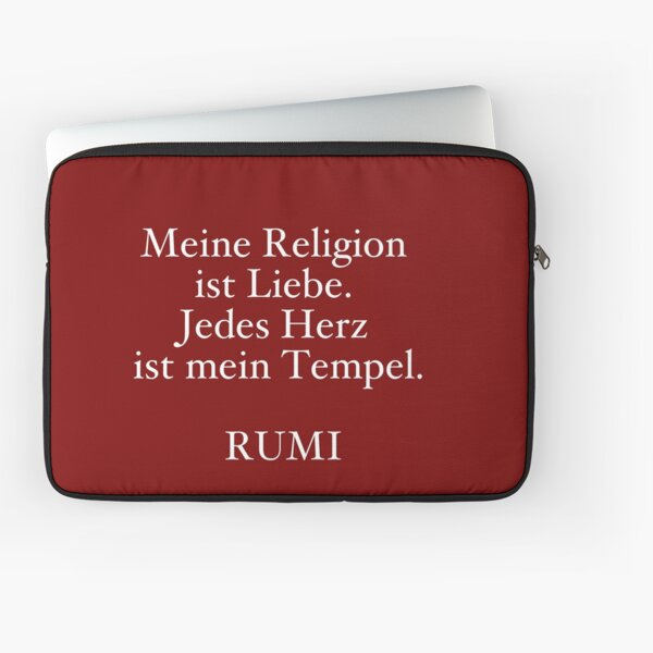 Quote Rumi My religion is love. Every heart is my temple Laptop Sleeve