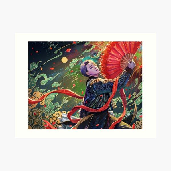 Jimin- red fan Art Print