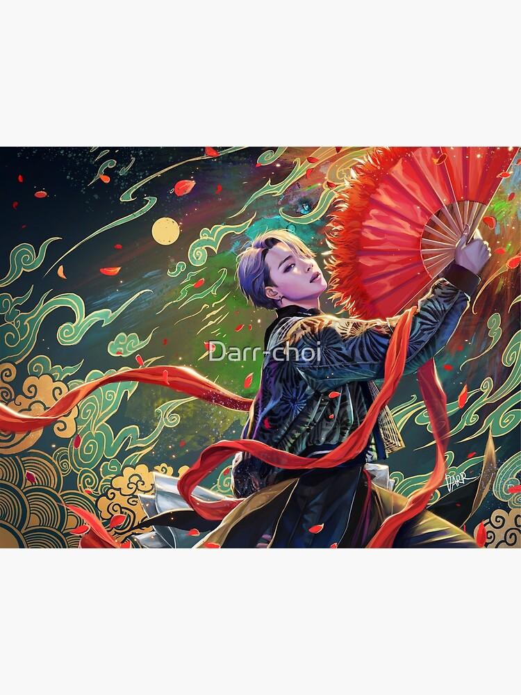 Jimin- red fan by Darr-choi