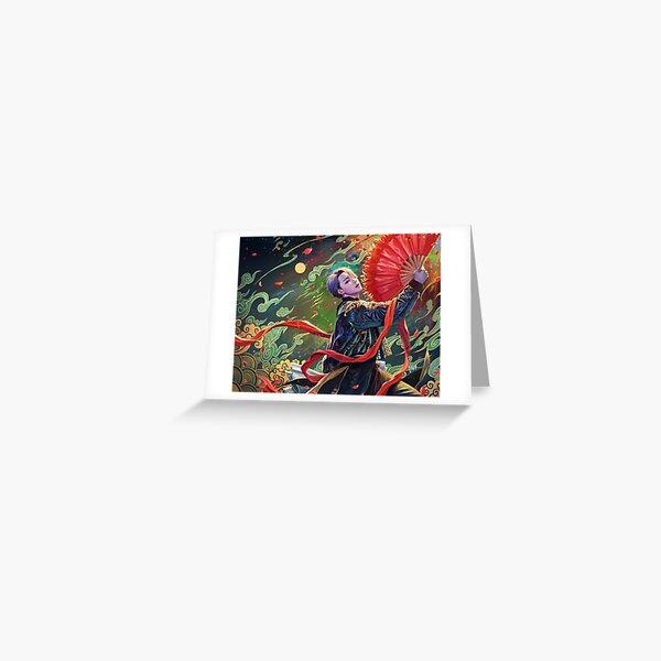 Jimin- abanico rojo Tarjetas de felicitación