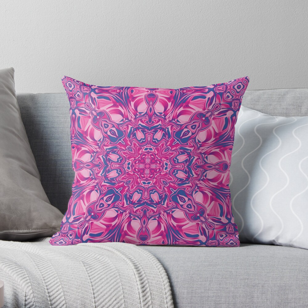 Liquefied Flow VI - Candy Pink Throw Pillow