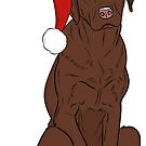 Chocolate Lab - Merry Christmas  by rmcbuckeye
