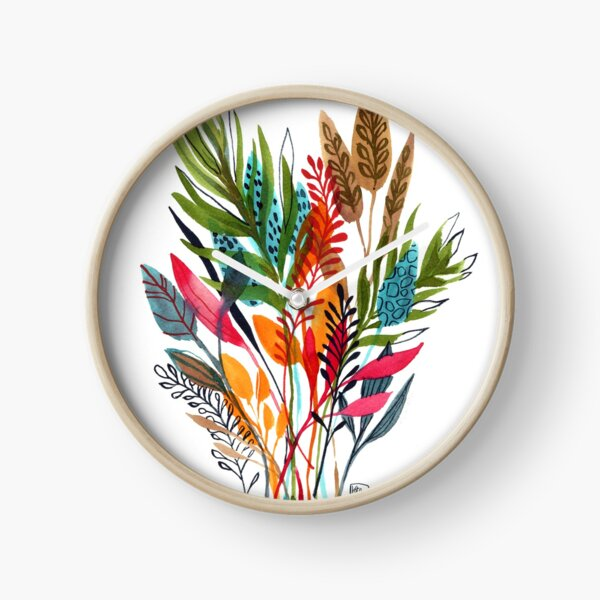 watercolor leaves and sprigs Clock