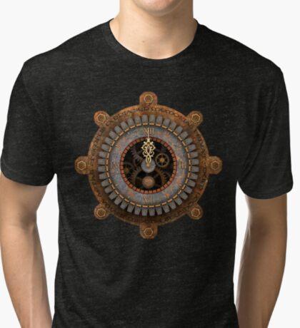 Infernal Steampunk Vintage Clock Face Tri-blend T-Shirt