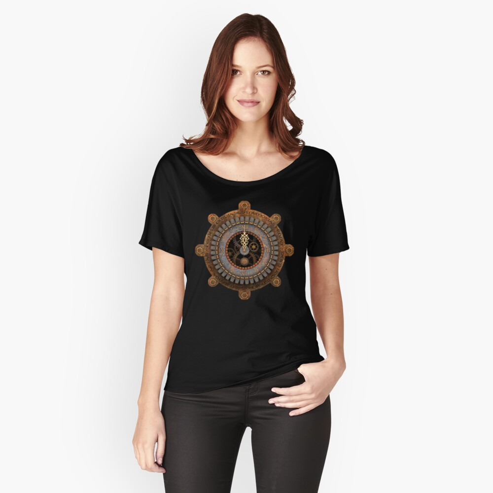 Infernal Steampunk Vintage Clock Face Women's Relaxed Fit T-Shirt Front