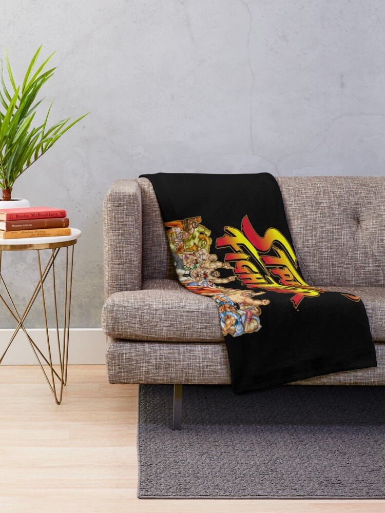 Alternate view of Street Fighter  retro game Throw Blanket
