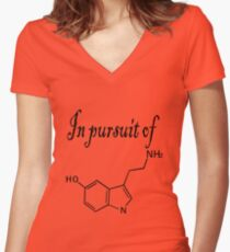 In pursuit of serotonin happiness Women's Fitted V-Neck T-Shirt