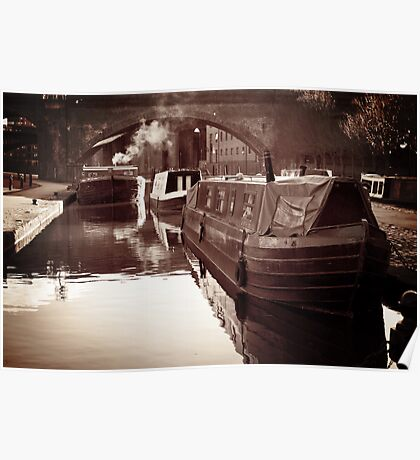 vintage canal boats Poster