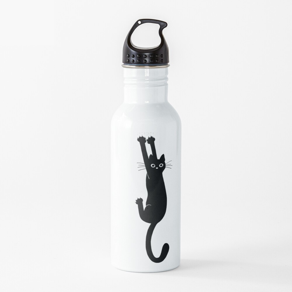 Black Cat Holding On Water Bottle