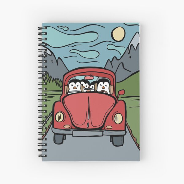 Penguin Family Taking a Relaxing Drive Together Spiral Notebook