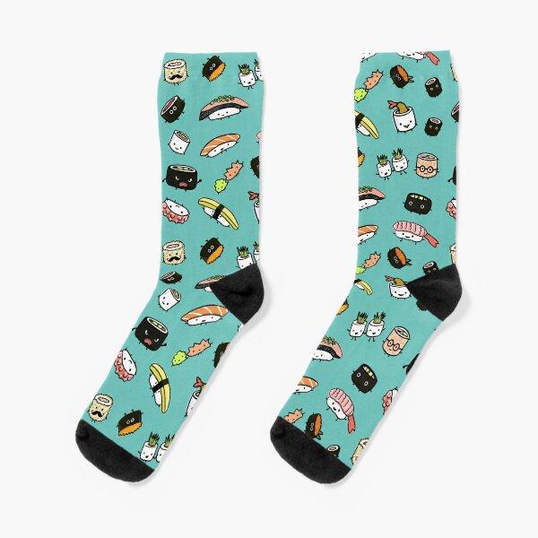 Cute Sushi Characters Pattern Socks