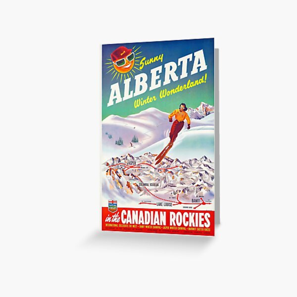 Alberta, Canadian Rockies - Vintage Canadian Ski Poster Greeting Card