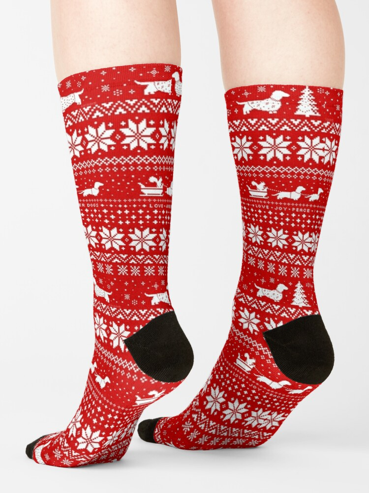 Alternate view of Dachshunds Christmas Sweater Pattern Socks