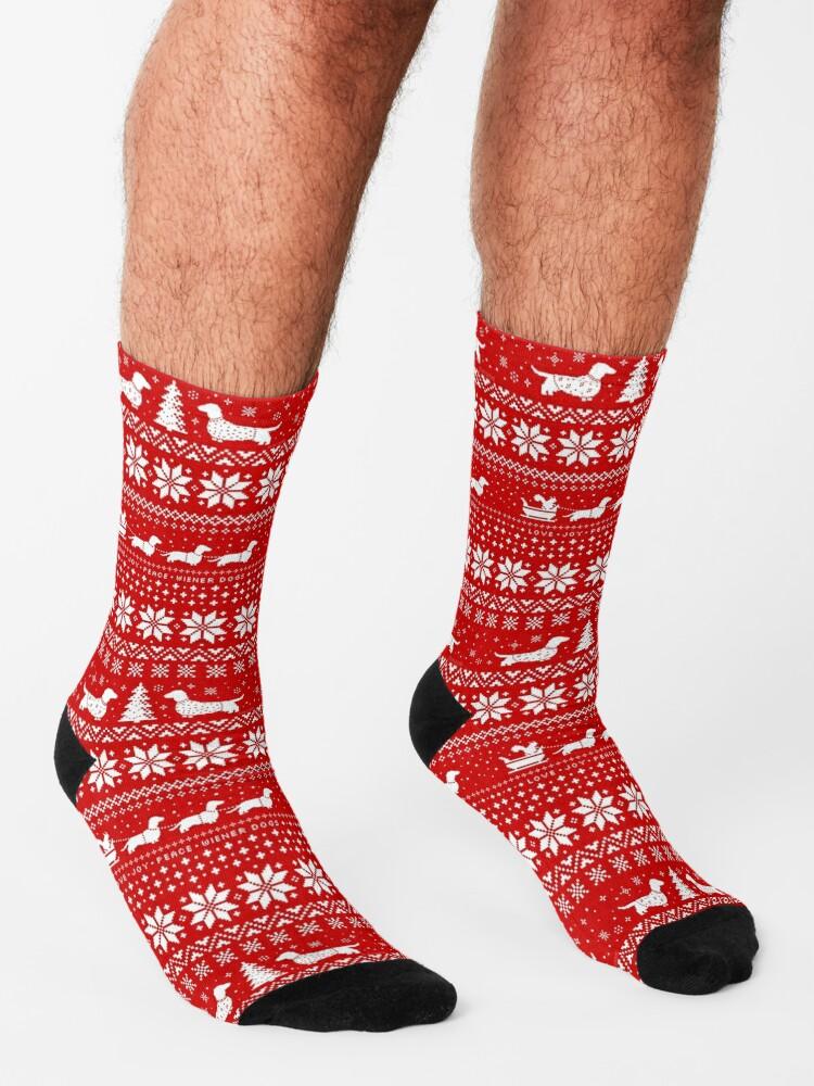 Alternate view of Dachshunds Christmas Sweater Pattern Socks