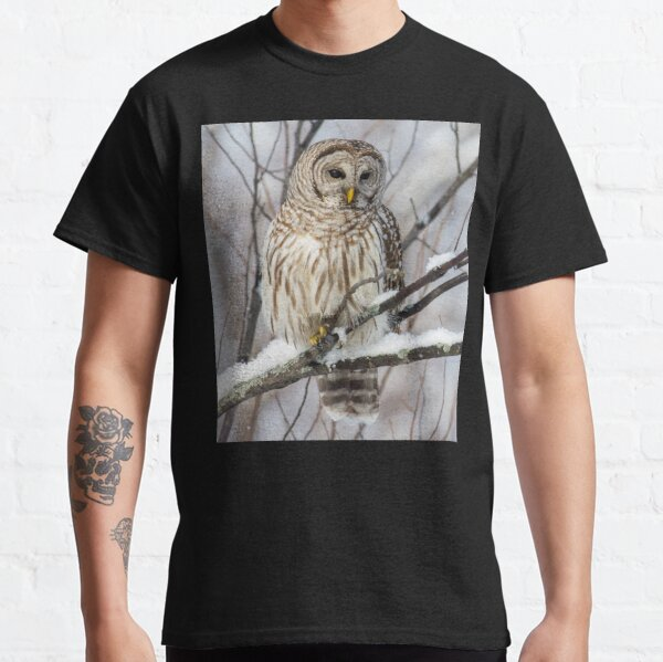 Barred Owl on  Snowy Branch Classic T-Shirt