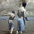 2 Boys Skipping Stones by Debbie Pinard