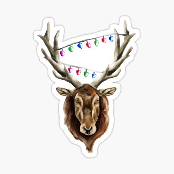 Festive Red Deer Stag Sticker
