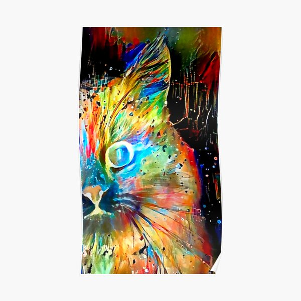 Blacklight Neon Rainbow Kitty Poster