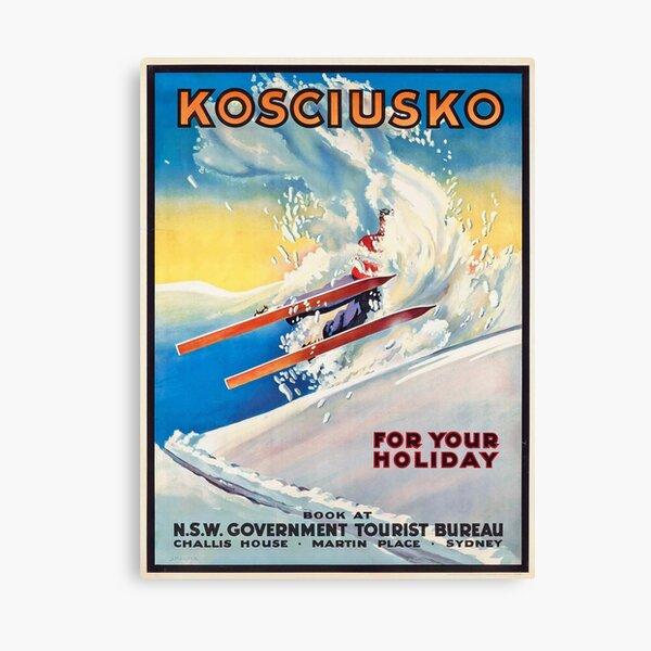 Mount Kosciuszko - Vintage Australian Ski Poster Canvas Print