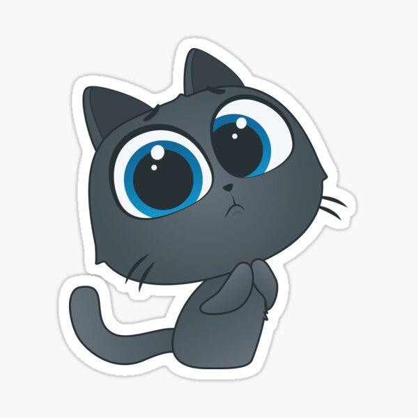 Pwease Grey Kitten Sticker