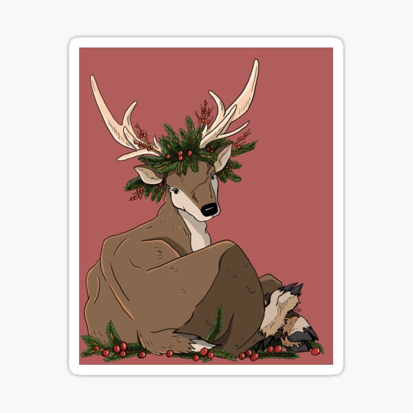 Antlers & Holly Sticker