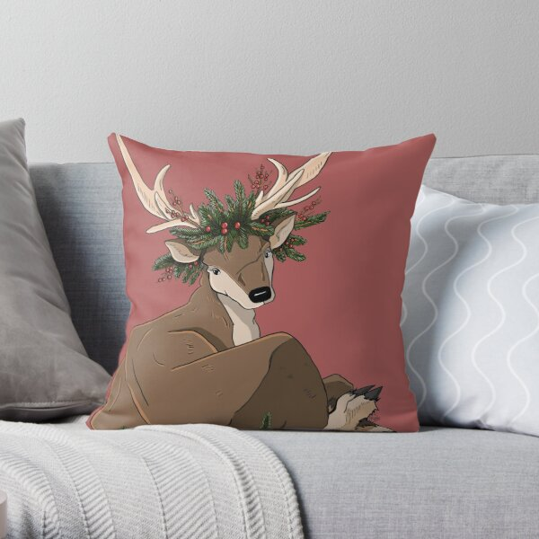 Antlers & Holly Throw Pillow