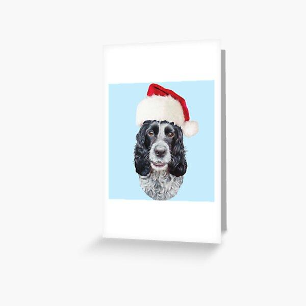 Christmas  Blue Roan, Cocker Spaniel Greeting Card