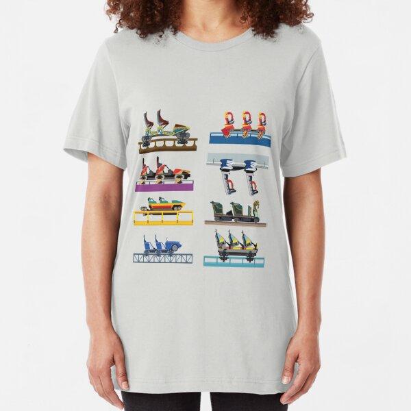 Busch Gardens Williamsburg Coaster Car Design Slim Fit T-Shirt