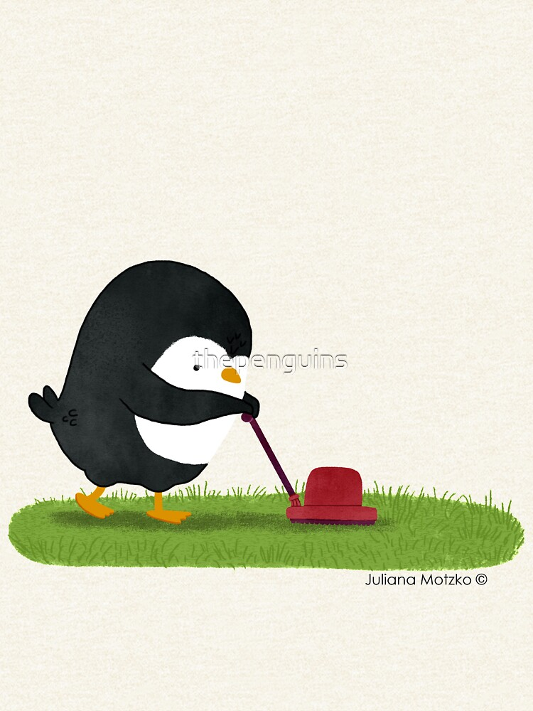 Penguin cutting grass by thepenguins