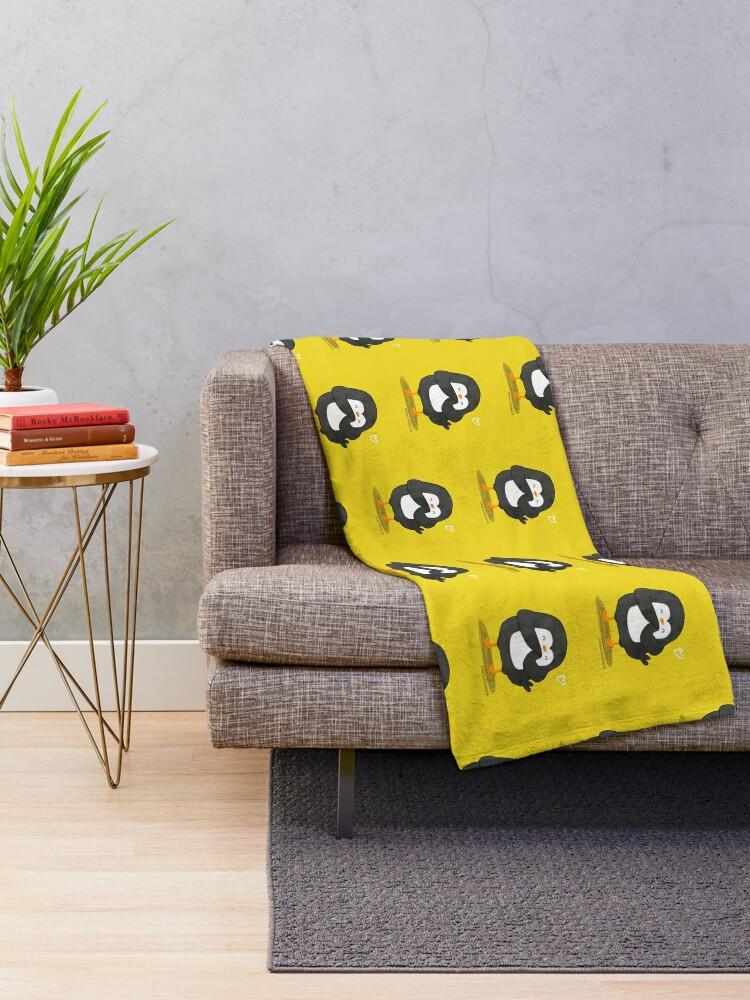 Alternate view of Penguin in Love Throw Blanket