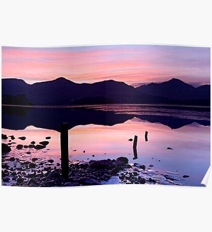 Derwentwater winter sunset - The Lake District Poster