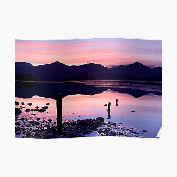 Derwentwater winter sunset - The Lake District Poster