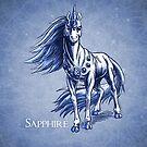 September Birthstone Unicorn: Sapphire Gemstone Fantasy Art by Stephanie Smith