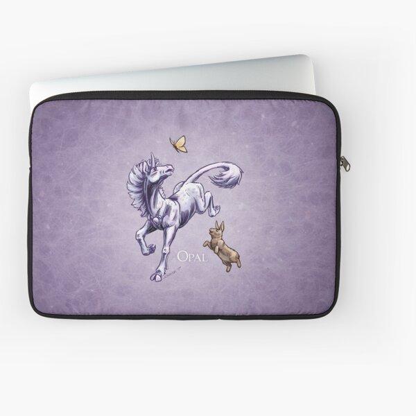 October Birthstone Unicorn: Opal Gemstone Fantasy Artwork Laptop Sleeve