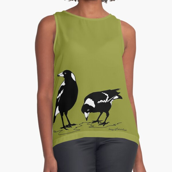 AUSTRALIAN MAGPIES - BORDER DESIGN Sleeveless Top