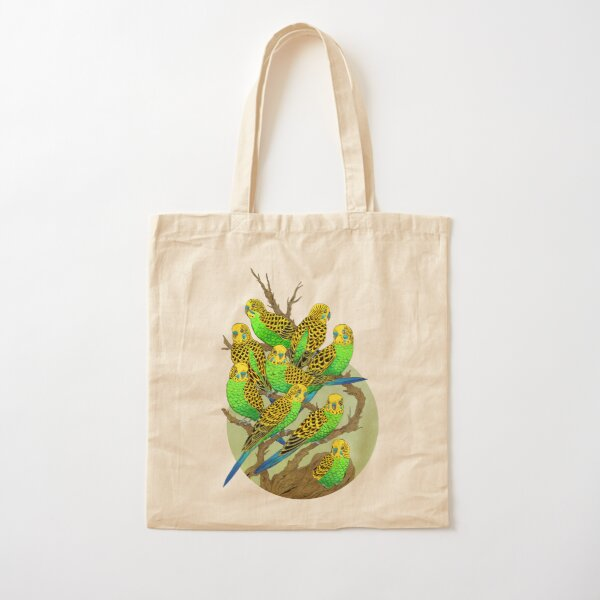 Green and Gold Budgies Cotton Tote Bag