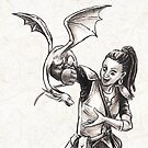 Training Time for Tiny Dragon Fantasy Illustration  by Stephanie Smith