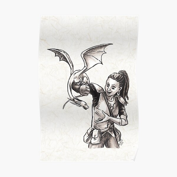 Training Time for Tiny Dragon Fantasy Illustration  Poster