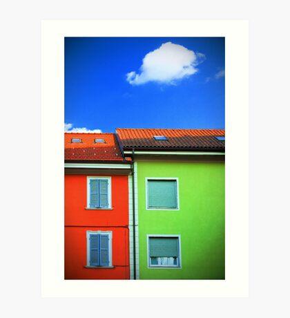 Colored walls and a cloud Art Print